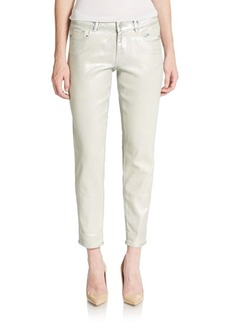 Elie Tahari Ryan Coated Slim-Leg Ankle Jeans