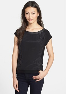 Elie Tahari 'Sable' Embellished Mixed Media Blouse