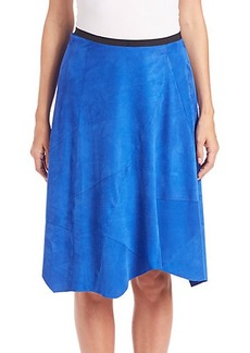 Elie Tahari Sachi Asymmetrical Suede Skirt