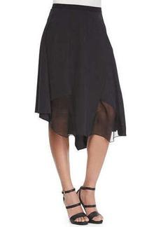 Elie Tahari Sachi Skirt with Chiffon Panels  Sachi Skirt with Chiffon Panels