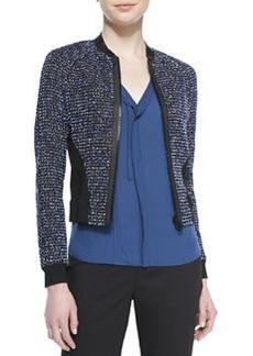 Elie Tahari Sandie Cropped Zip-Front Tweed Jacket