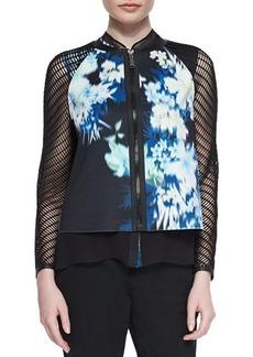 Elie Tahari Sandie Floral-Print Mesh Jacket  Sandie Floral-Print Mesh Jacket