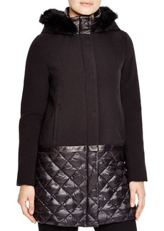 Elie Tahari Sandra Mixed Media Fur Trim Puffer Coat