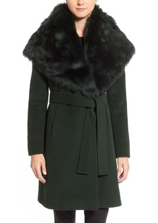Elie Tahari 'Sandy' Genuine Toscana Shearling Collar Wool Blend Wrap Coat