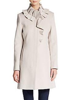 Elie Tahari Sara Ruffle-Collar Wool Coat
