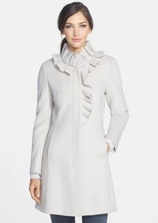 Elie Tahari 'Sara' Ruffle Collar Wool Coat