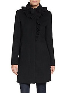 Elie Tahari Sara Stretch-Wool Ruffle Coat