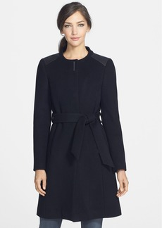 Elie Tahari 'Savannah' Leather Trim Collarless Wool Coat