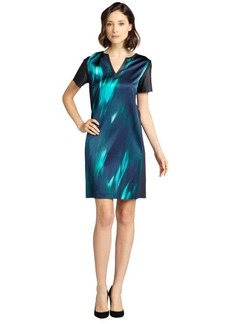 Elie Tahari sea blue printed silk blend and lambskin trim 'Kellan' v-neck dress