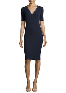 Elie Tahari Shannon V-Neck Ponte Sheath Dress, Navy Yard