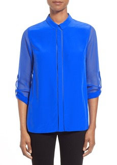 Elie Tahari Sheer Sleeve Silk Blouse
