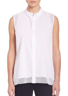 Elie Tahari Shelby Mesh-Accented Blouse