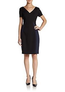 Elie Tahari Short-Sleeve Ponte Colorblock Dress