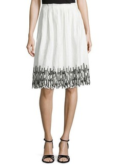 Elie Tahari Sienna Gathered Skirt with Embroidered Hem  Sienna Gathered Skirt with Embroidered Hem