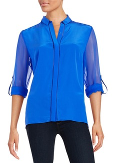 ELIE TAHARI Silk Button-Front Shirt