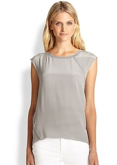 Elie Tahari Silk Lace-Detail Top