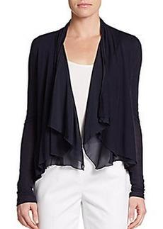 Elie Tahari Silk-Trimmed Draped Knit Top