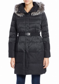 ELIE TAHARI Silver Fox Fur-Trimmed Belted Puffer Coat