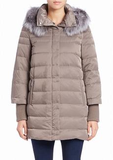 ELIE TAHARI Silver Fox Fur-Trimmed Puffer Coat