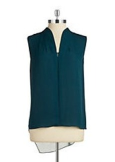 ELIE TAHARI Sleeveless Silk Hi-Lo Blouse