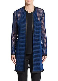 Elie Tahari Soho Leather-Trimmed Reversible Cardigan