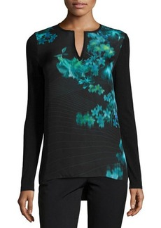 Elie Tahari Stacey Floral-Print Long-Sleeve Blouse  Stacey Floral-Print Long-Sleeve Blouse