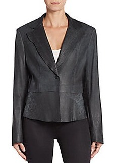 Elie Tahari Stitched Leather Jacket