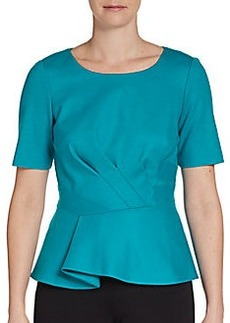 Elie Tahari Stretch Wool Peplum Top