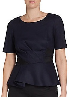 Elie Tahari Stretch Wool Peplum Top/Midnight & Black