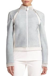 Elie Tahari Suella Leather & Mesh Jacket
