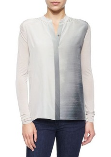 Elie Tahari Suzanna Long-Sleeve Ombre Blouse