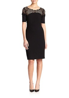 Elie Tahari Suzie Lace-Trim Cotton Dress