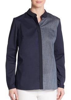 Elie Tahari Tahlia Stripe-Paneled Shirt