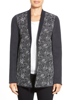 Elie Tahari 'Talia' Jacquard Front Mixed Media Coat