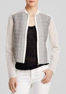 Elie Tahari Telese Mesh Sleeve Tweed Jacket