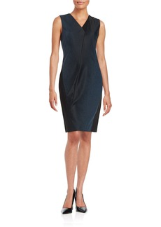 ELIE TAHARI Textured V-Neck Sheath Dress