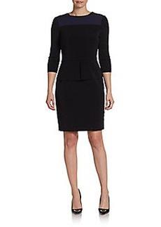 Elie Tahari Three-Quarter Sleeve Zip-Trim Dress