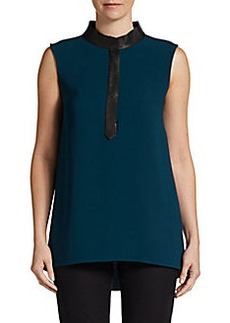 Elie Tahari Tiffany Leather-Trim Blouse