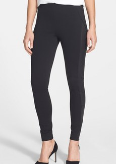 Elie Tahari 'Trina' Ponte Knit & Leather Pants