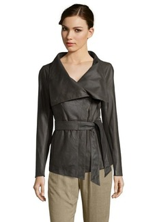 Elie Tahari tusk leather 'Claudette' drape front long sleeve jacket