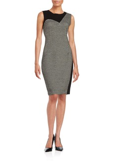 ELIE TAHARI Tweed-Accented Knit Dress