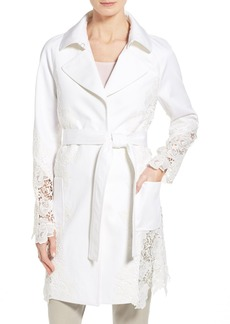 Elie Tahari Twill & Lace Trench Coat