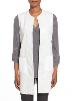 Elie Tahari 'Verina' Mixed Media Long Collarless Vest