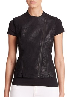 Elie Tahari Victoria Leather Moto Vest