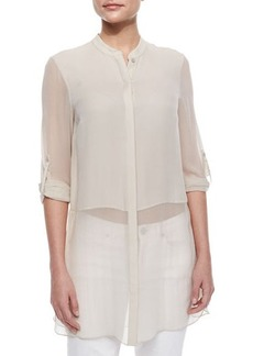 Elie Tahari Viviann Silk Sheer Tunic Blouse