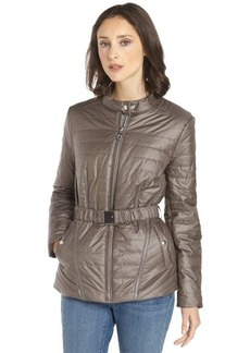 Elie Tahari warm clay quilted woven 'Rose' belted jacket
