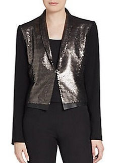 Elie Tahari Waverly Leather Trimmed Sequined-Front Blazer