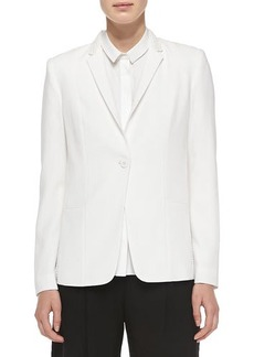 Elie Tahari Winnie One-Button Embellished Collar Jacket