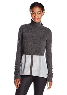 Elie Tahari Women's 100% Cashmere Raleigh Cropped Overlay Sweater