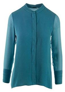 Elie Tahari Women's Alejandra Silk Georgette Embellished Sleeve Blouse, Patina, Large